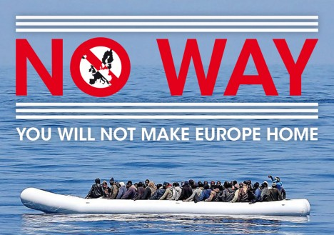 "Aufkleber ""NO WAY - You will not make Europe Home"" (© gegenARGUMENT, 2016)"